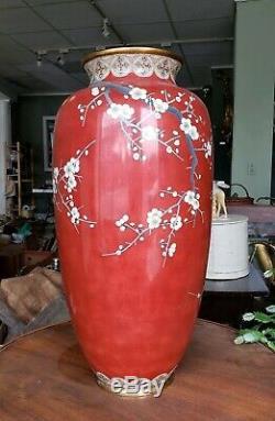 Huge Japanese Meiji Silver Wire Cloisonne Vase With Eagle Make Offer