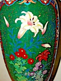 INCREDIBLE ANTIQUE JAPANESE EARLY MEIJI PERIOD CLOISONNE VASE with ORCHID 24