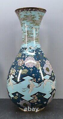 Important Japanese Meiji Cloisonne Vase with cranes by Goto