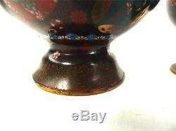 Impressive Pair Antique Japanese Meiji Cloisonne Enamel Vases Roundals