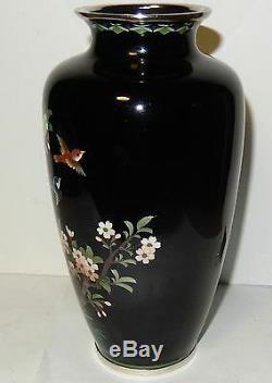 Inaba Cloisonne Black Enamel Floral Blossoms Birds Design 71/8 H. Vase