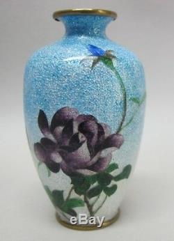 JAPANESE MEIJI-ERA CLOISONNE Vase by OTA JINNOEI Blue Flower c. 1890 antique