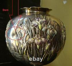 JAPANESE STERLING SILVER CHAMPLEVE ENAMEL IRIS Vase BY MIYAMOTO