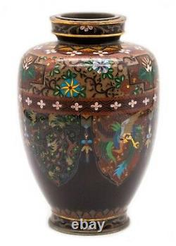 Japan 1890 Meiji Period Ando Jubei Silver And Gold Wire Cloisonne Vase Very Rare