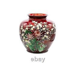 Japan 1910 Meiji Period Ando Jubei Massive Chrysanthemums Cloisonne Vase Rare