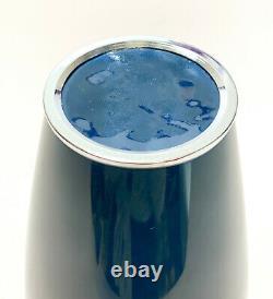Japanese Agean Blue Cloisonne Enamel Vase, Flying Cranes