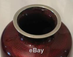 Japanese Akasuke Pigeon Blood Cloisonne & Enamel Vase 1900 1940