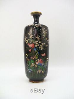 Japanese Antique Meiji Period (1868-1912) Fine Cloisonne Vase Flowers Bird