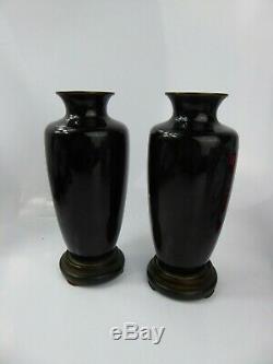 Japanese Antique Pair of Cloisonne Vases & Stands Signed Meiji Cranes Superb
