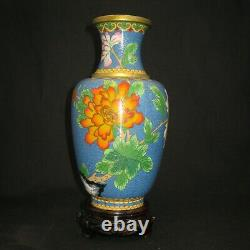 Japanese Antique cloisonne copper vase wire decoration of butterfly and flowers