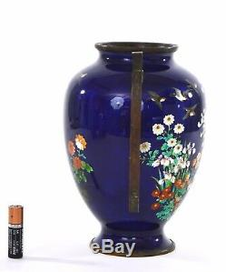 Japanese Blue Ginbari Cloisonne Enamel Shippo Handle Ears Vase Chrysanthemum