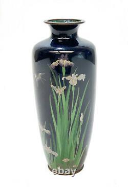 Japanese Blue Metalware Cloisionne Enamel Vase. Meiji Period. Floral Decoration