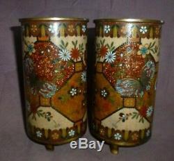 Japanese Chinese Cloisonne Vases True Facing Superb Detail Circa 1850 Beautiful