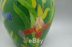 Japanese Chinese Enamel Cloisonne Glass Wire Iris Flower Vase RARE RARE RARE
