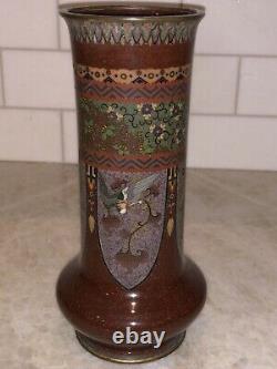 Japanese Cloisonne 4 Dragon And Ho Bird Vase