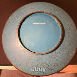 Japanese Cloisonne Charger with Bird Namikawa Sosuke 14.5 inches diameter