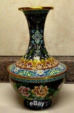 Japanese Cloisonne Cherry Blossom Floral Enamel Vase 10 Tall