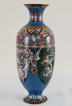 Japanese Cloisonné Enamel Dragon and Phoenix Vase Meiji Period 14.25 36cm