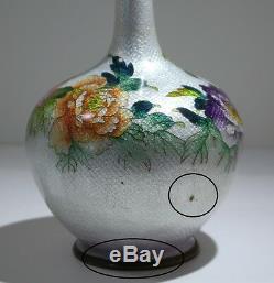 Japanese Cloisonne Enamel Floral Vase Circa 1900