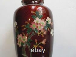 Japanese Cloisonne Enamel GINBARI 7.25 Vase, Silver Rims