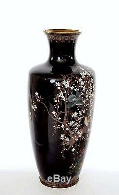Japanese Cloisonne Enamel Shippo Vase Pigeon Dove Bird Cherry Blossom 12 30cm