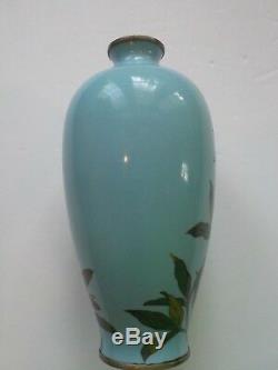 Japanese Cloisonne Enameled INABA Vase, Nickle Silver Rim