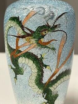 Japanese Cloisonne Ginbari Foil 4.75 Dragon Vase Turquoise Ombré Background