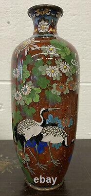 Japanese Cloisonne Gold Flake Vase Cranes Motif Meiji Period