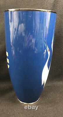 Japanese Cloisonne Vase Cranes Ando Tamura 12.5 Presentation Gift 1950-1960