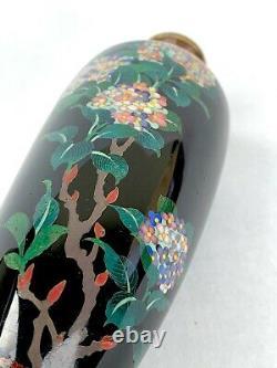 Japanese Cloisonne Vase Fabulous Flowers Decoration