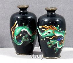 Japanese Cloisonne Vases (2) MEIJI SIGNED
