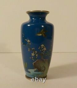Japanese Cloisonne on Silver 4.75 Vase, Marked, c. Early 1900's