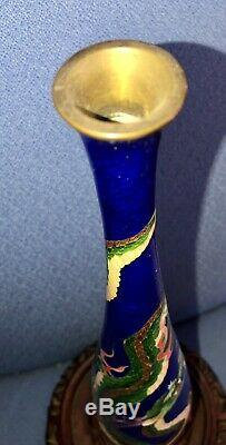 Japanese Ginbari Cloisonné Dragon Vase 12tall Midnight blue background 1900s