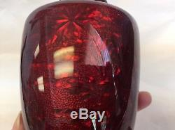 Japanese Ginbari Cloisonne Sato Ando Era Vase Red Pigeon Blood 6 3/8 h