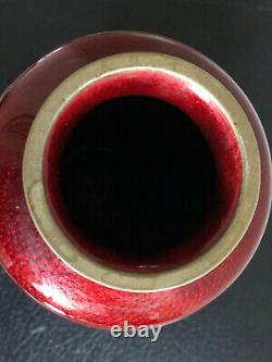Japanese Ginbari Cloisonne Sato Ando Era Vase Red Pigeon Blood Cherry Blossom