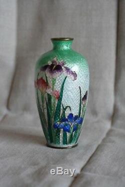 Japanese Ginbari Cloisonne Vase, Miniature Iris Flowers Ombre Green 1900s 5