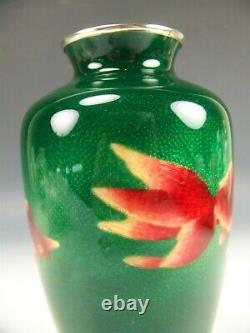 Japanese Ginbari Style Cloisonne Fishes On Green With Silver 7.25 Vase