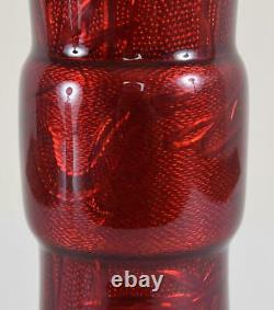 Japanese Gu Form Cloisonne Vase Red Pigeon Blood Glaze Dragon and Bamboo
