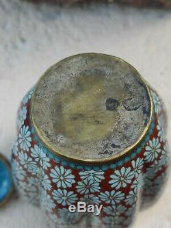 Japanese Maiji Period Cloisonne Vase / Jar with lid