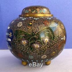 Japanese Meiji Cloisonne Fine Wire Ornate Ginger Jar / Urn. Bronze, Gold Flecked