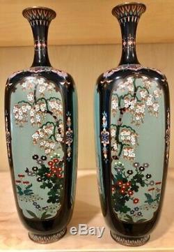 Japanese Meiji Cloisonne Pair of Fine Multipanel Vases