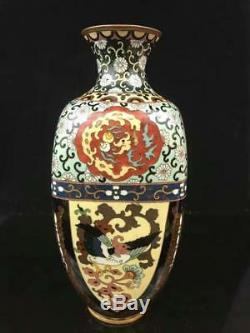 Japanese Meiji Cloisonne Vase With Dragon and Phoenix