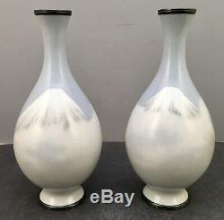 Japanese Meiji Pair of Wireless Cloisonne Vases attributed to Namikawa Sosuke