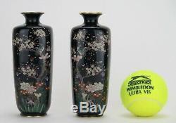 Japanese Meiji Period true mirror pair of cloisonné vases
