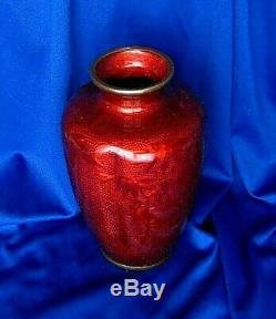 Japanese Meiji Red Ginbari Cloisonne Vase 5.5x3.5 Enamel Asian Antique