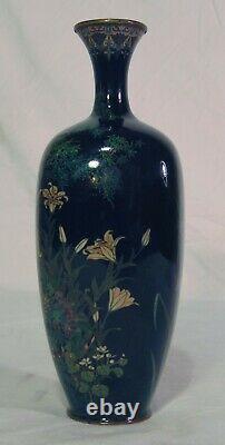 Japanese Meiji Silver Wire Cloisonne Vase Black Iris Tiger Lily Flowers