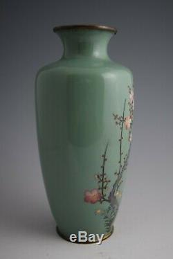Japanese Meiji Silver Wire Cloisonne Vase White-eye, Plum Blossom & Bamboo #123