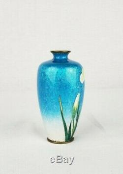 Japanese Meiji Silver Wire Ginbari Cloisonne Vase By Hattori Tadasaburo Signed
