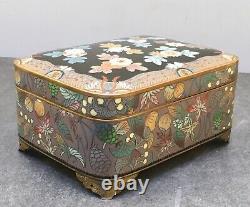 Japanese Meiji Silver Wire & Wireless Cloisonne Musical Box