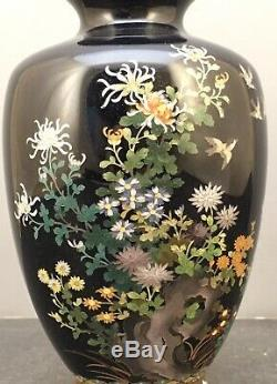 Japanese Meiji Silver Wire & Wireless Cloisonne Vase